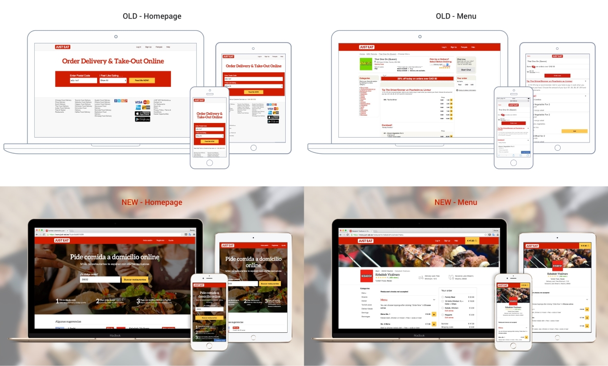 Screenshots showing the improvement in the user interface delivered to JUST EAT customers through migration of a country from legacy to responsive platform.