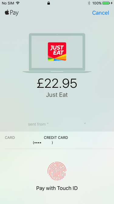 Payment confirmation for a purchase from macOS using Touch ID on an iPhone.