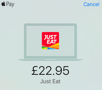 Using Apple Pay on the web from just-eat.co.uk