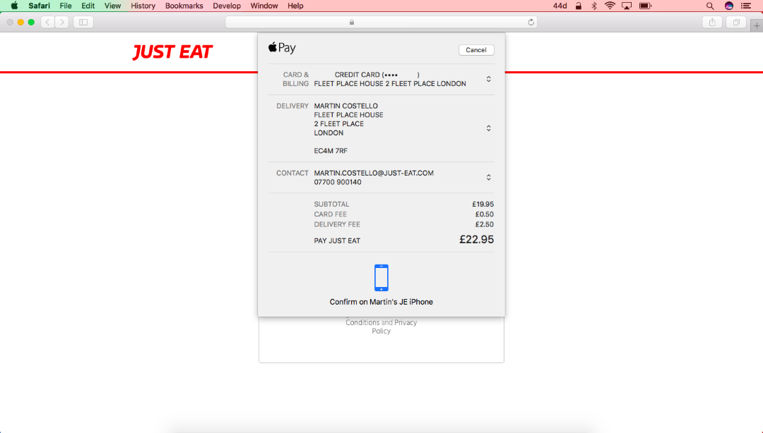 The Apple Pay payment sheet in macOS Sierra.